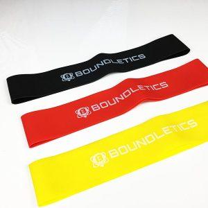 Fitnessband Test Boundletics 3er Set Loop-Bands aus Naturkautschuk Schwarz Rot Gelb