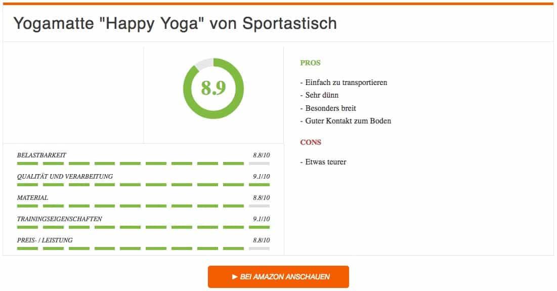 Yogamatte Happy Yoga von Sportastisch Fitnessmatte Test Auswertung