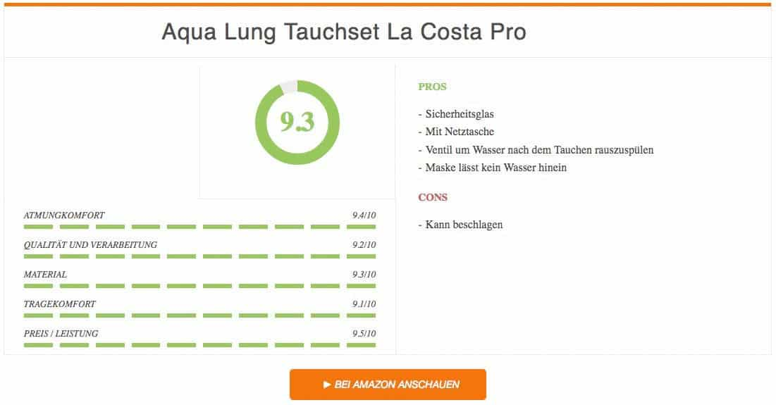 Ergebnis Aqua Lung Tauchset La Costa Pro Schnorchelset Test