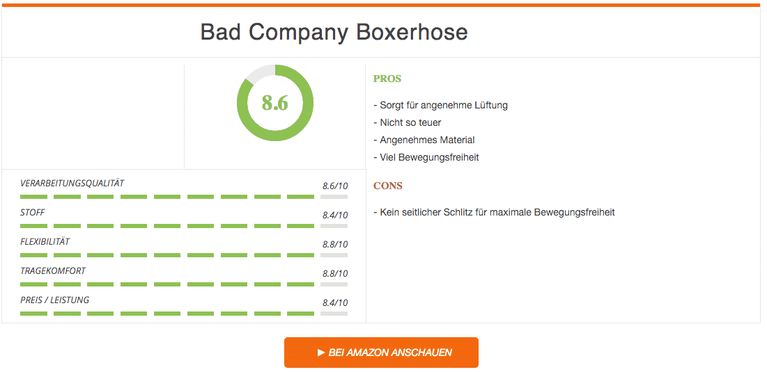 Bad Company Boxhose Ergebnis