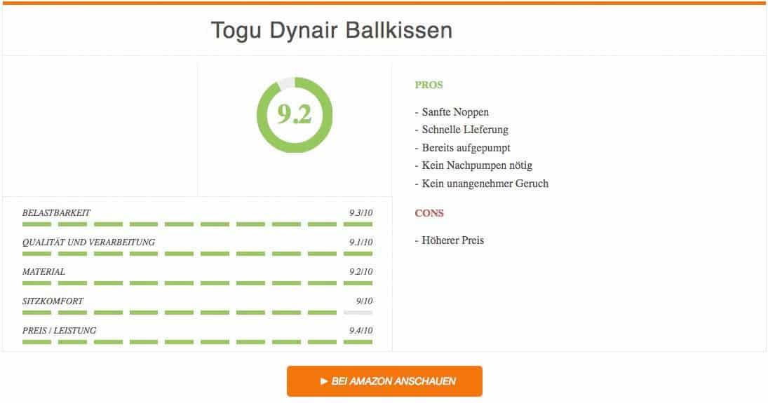 Balancekissen Test Ergebnis Togu Dynair Ballkissen