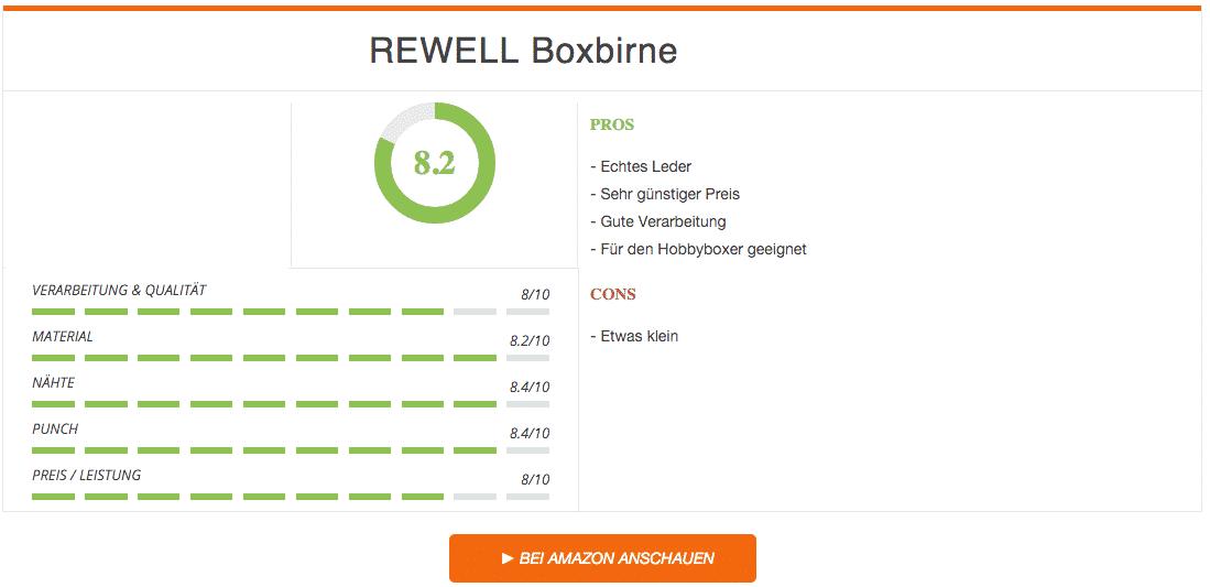 Rewell Boxbirne aus Leder Ergebnis