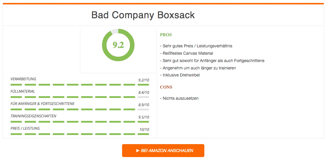 Bad Company Boxsack Ergebnis