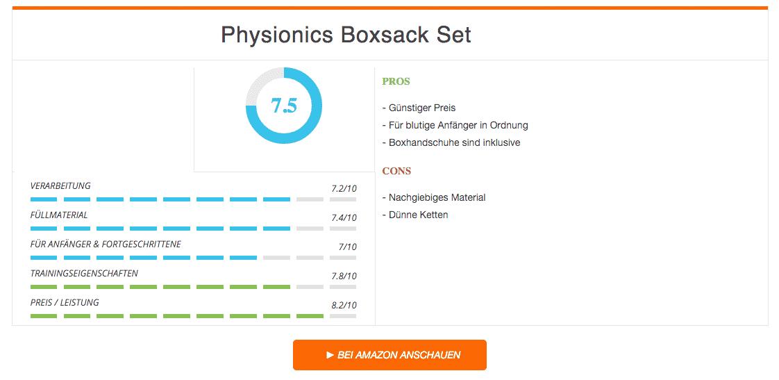 Physionics Boxsack Set - Ergebnis