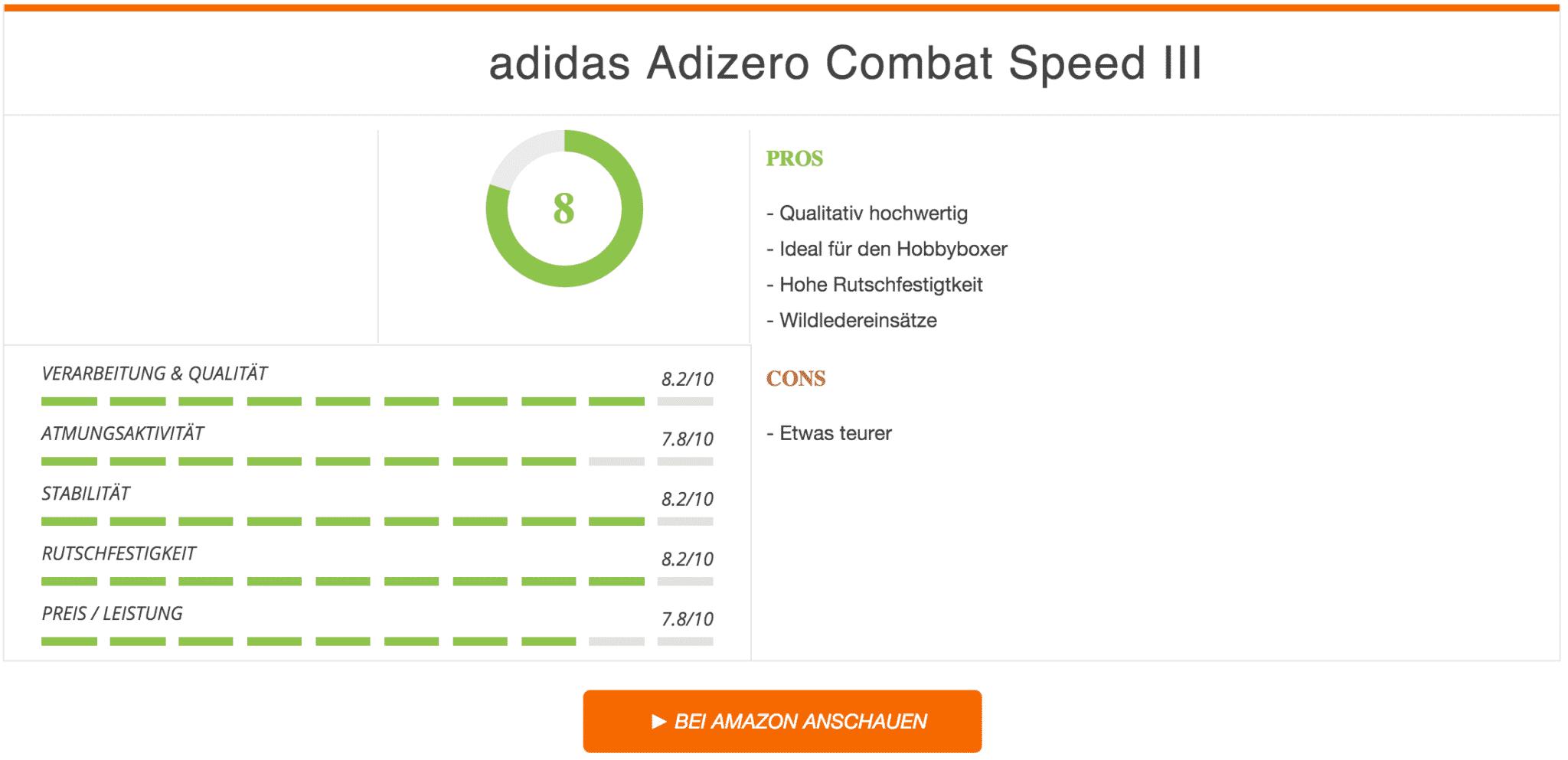 Boxstiefel Test Bewertung Adidas-Adizero Combat Speed III Boxerstiefel