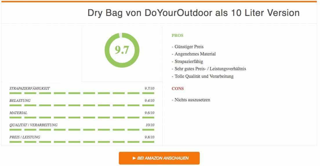 Ergebnis Dry Bag von DoYourOutdoor 10 Liter Version