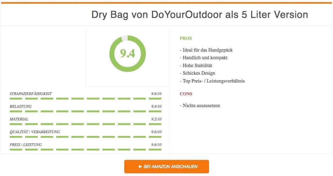 Ergebnis zum Dry Bag Test von DoYourOutdoor als 5 Liter Version