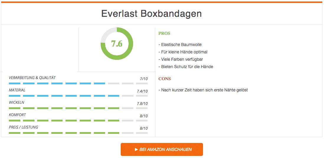 Everlast Boxbandagen Ergebnis
