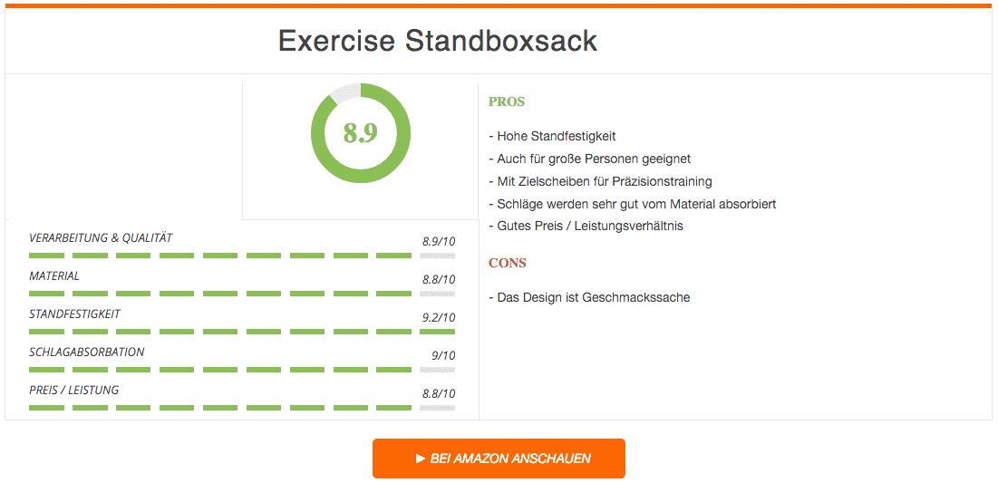 Exercise Standboxsack Ergebnis