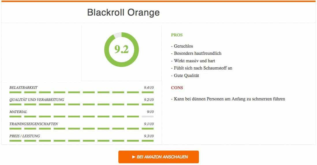 Faszienrolle Test Blackroll Orange