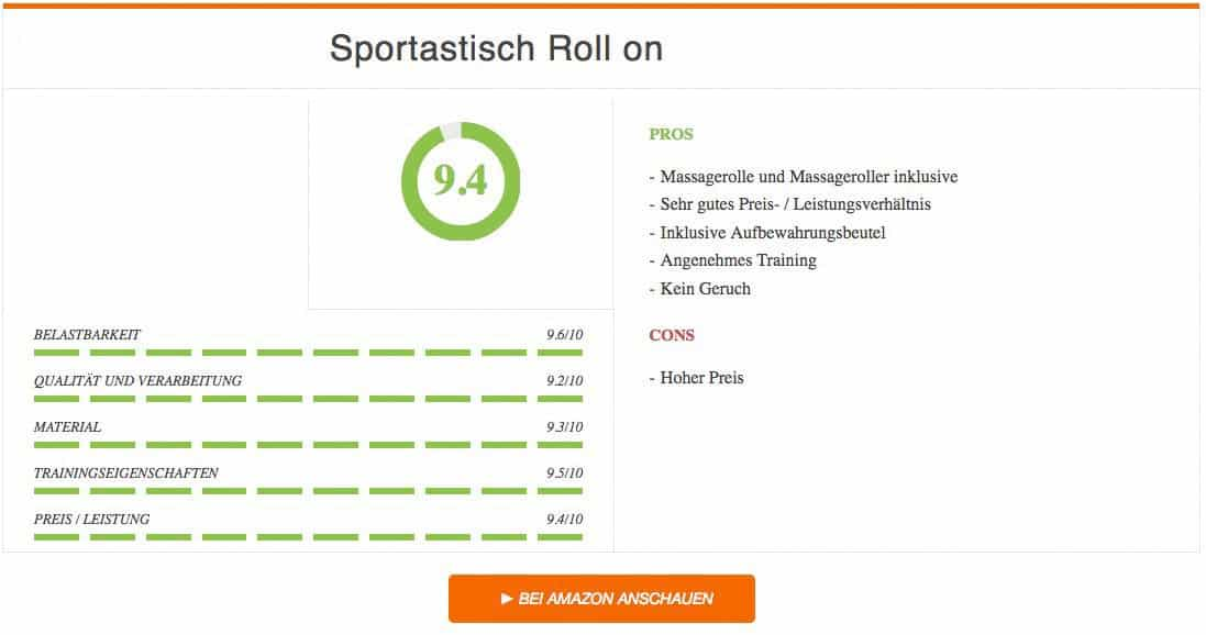 Faszienrolle Test Sportastisch Roll on