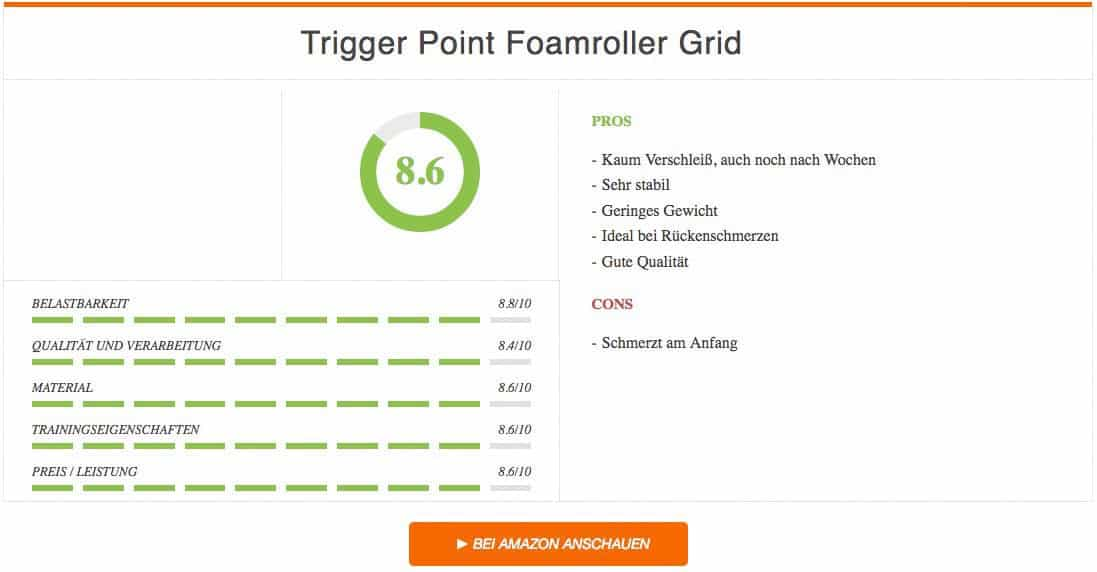 Faszienrolle Test Trigger Point Foamroller Grid