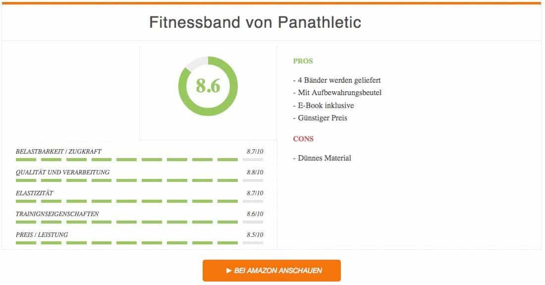 Fitnessband Test Panathletic Ergebnis