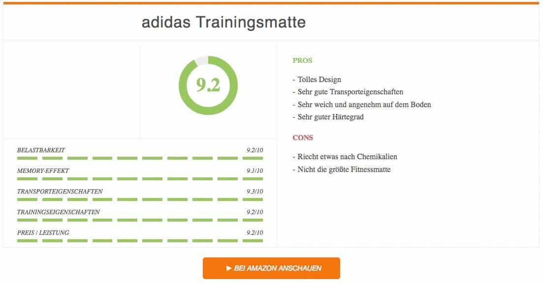 Fitnessmatte Test adidas Trainingsmatte