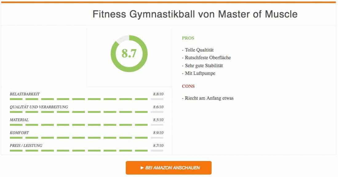 Ergebnis Gymnastikball Test Fitness Gymnastikball Master of Muscle