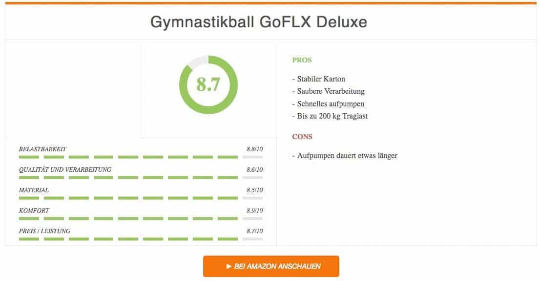 Ergebnis Gymnastikball Test GoFLX Deluxe 2