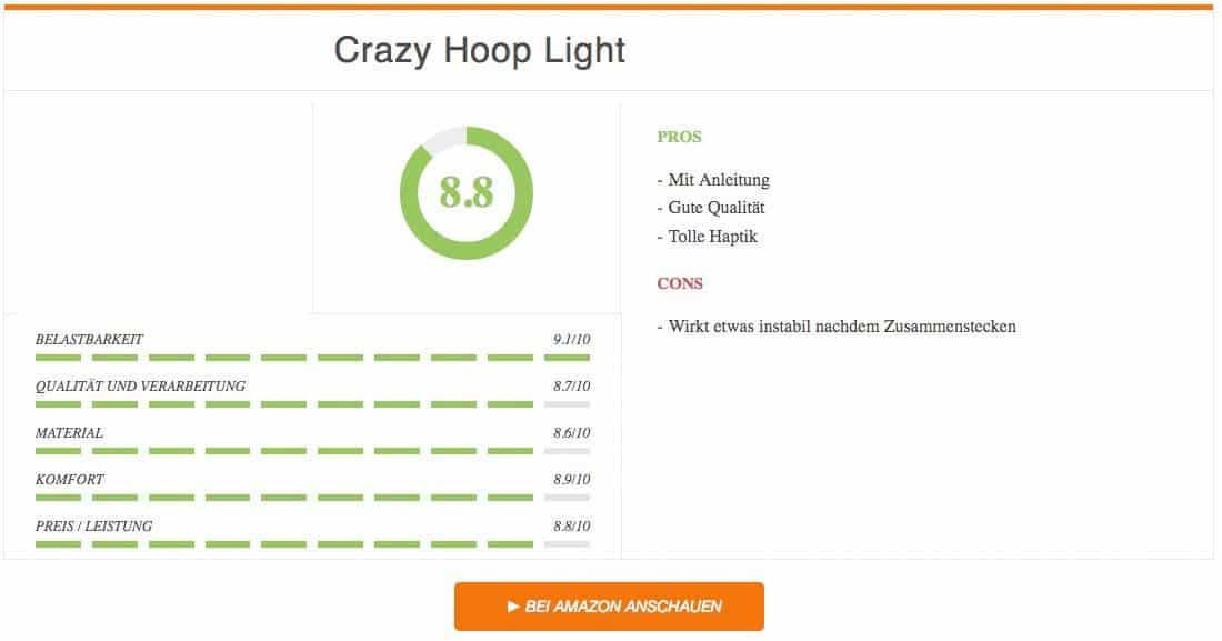 Hula Hoop Reifen Test Crazy Hoop Light