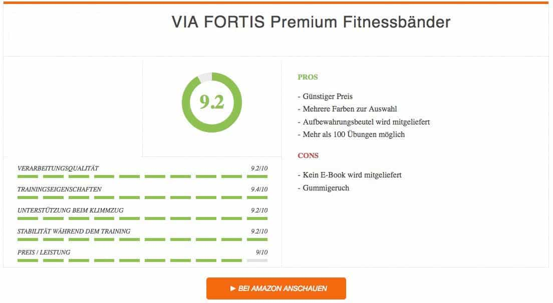 VIA FORTIS Premium Fitnessbänder Ergebnis Klimmzughilfe Test