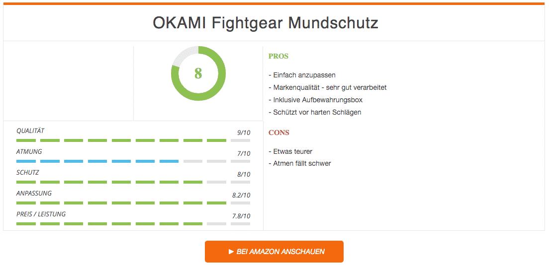 OKAMI Fightgear Mundschutz Schwarz Rot Ergebnis