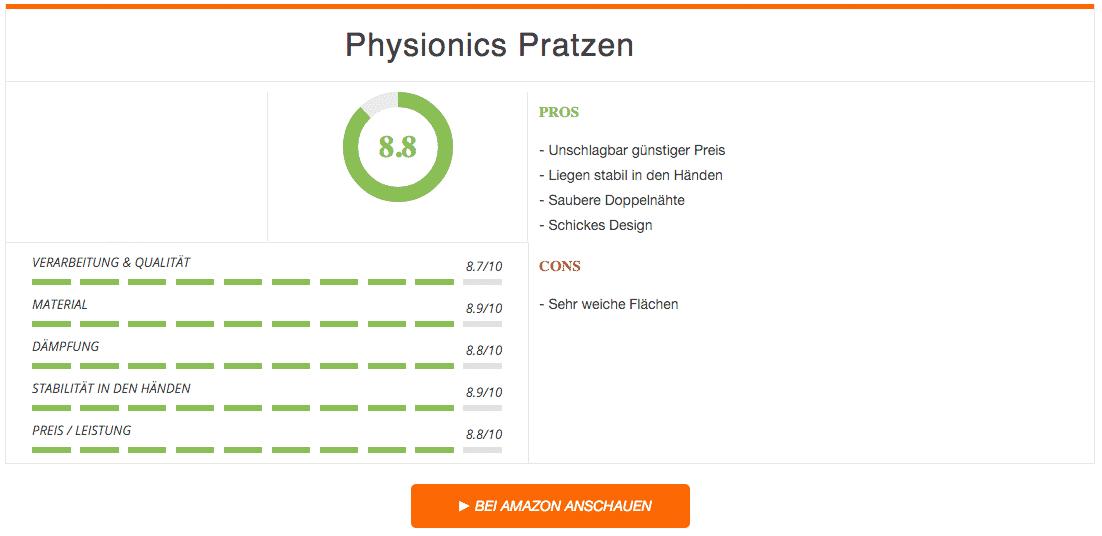 Physionics Boxpratzen Ergebnis