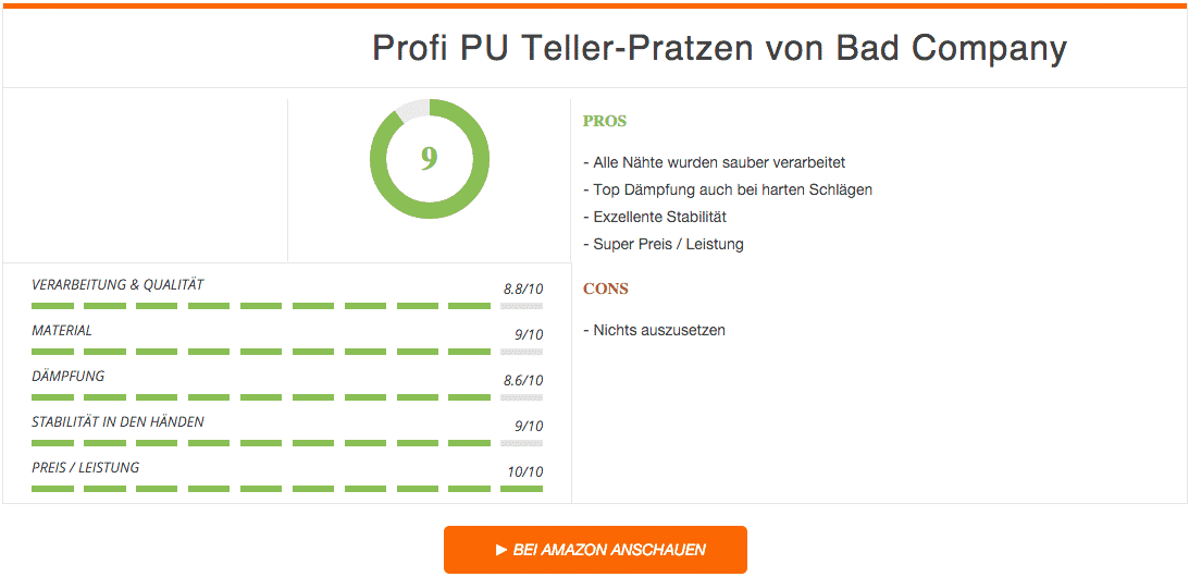 Profi PU Teller-Pratzen Boxpratzen Bad Company Ergebnis