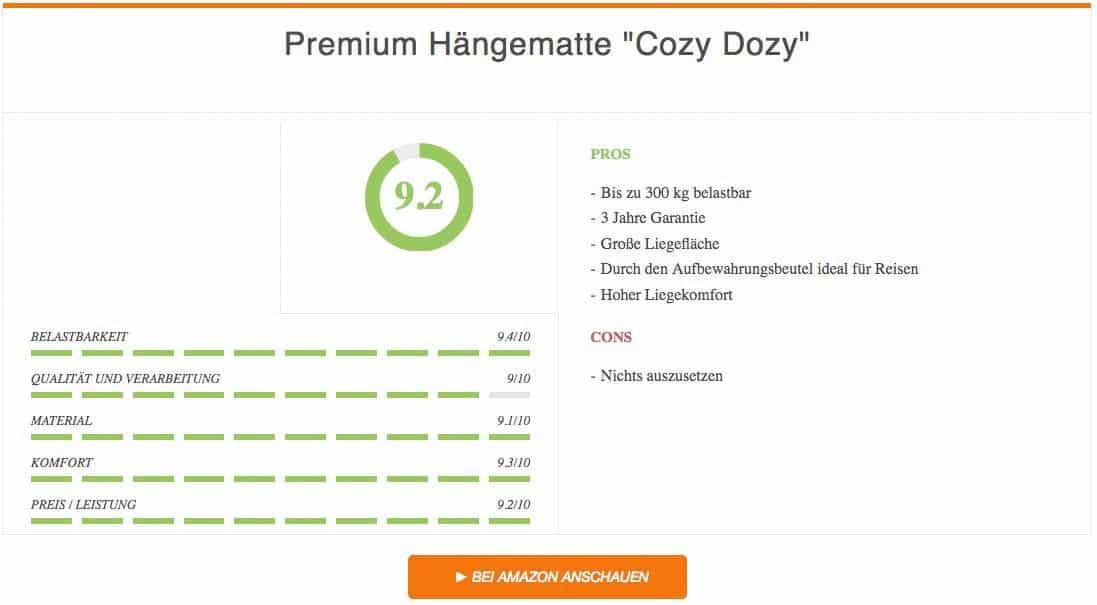 Ergebnis zur Premium Hängematte Test Cozy Dozy von Sportastisch