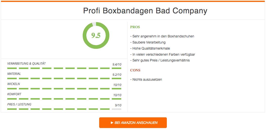 Profi Boxbandagen Bad Company Ergebnis