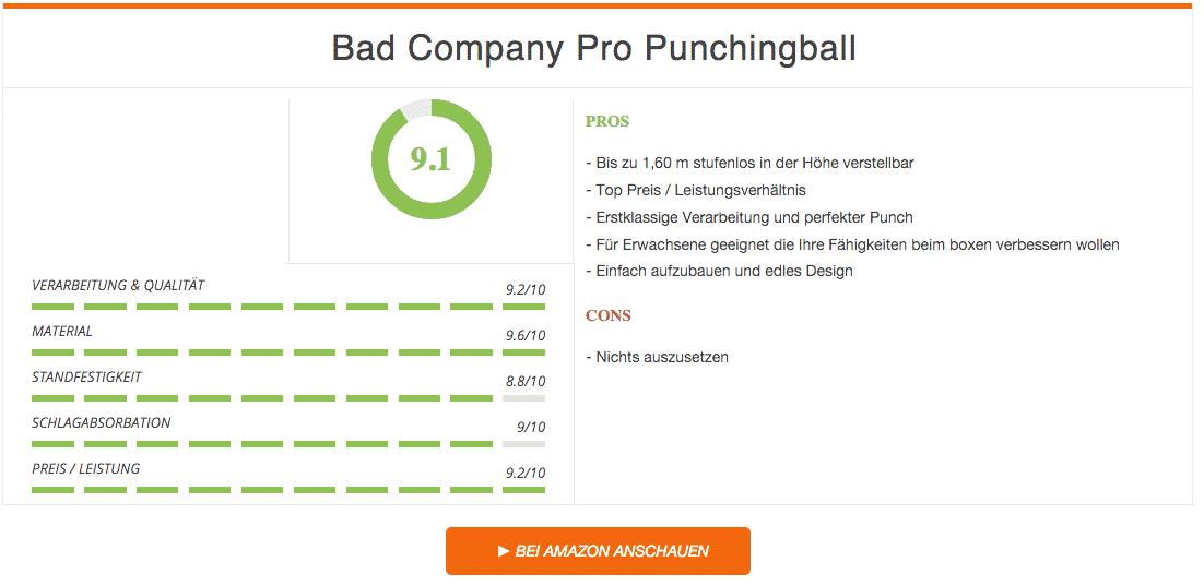Bad Company Pro Punchingball Boxstand Schwarz Ergebnis