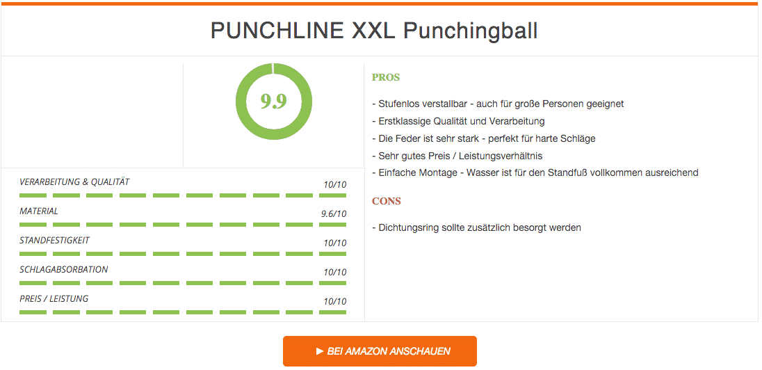 PUNCHLINE XXL Punchingball - Standbox-Trainer Ergebnis