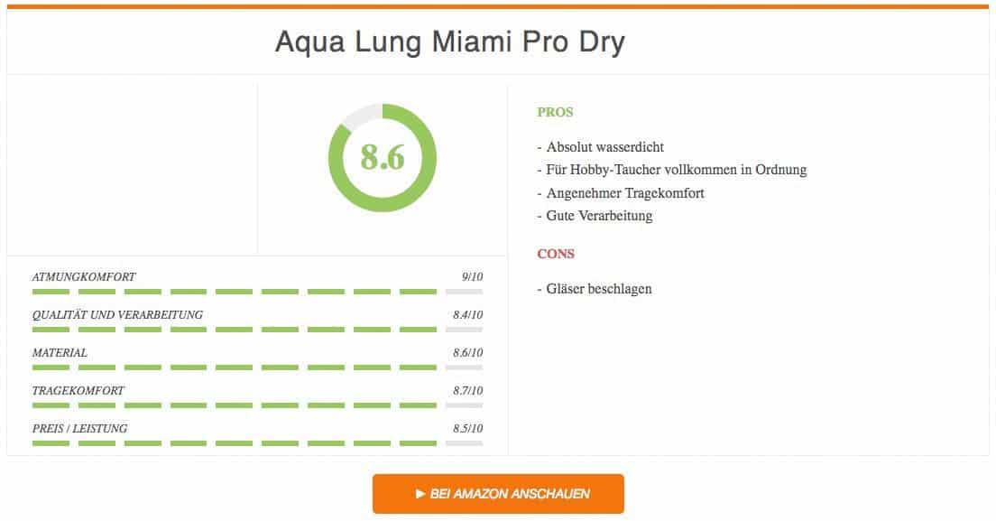 Schnorchelset Test Ergebnis zum Aqua Lung Miami Pro Dry