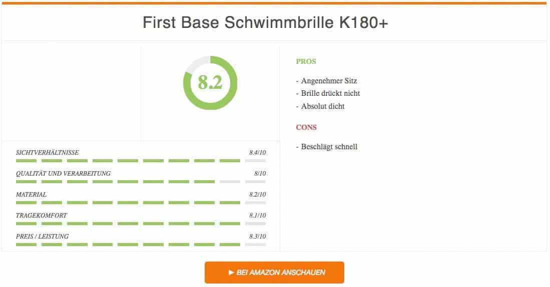 Ergebnis zur First Base Schwimmbrille K180 Test