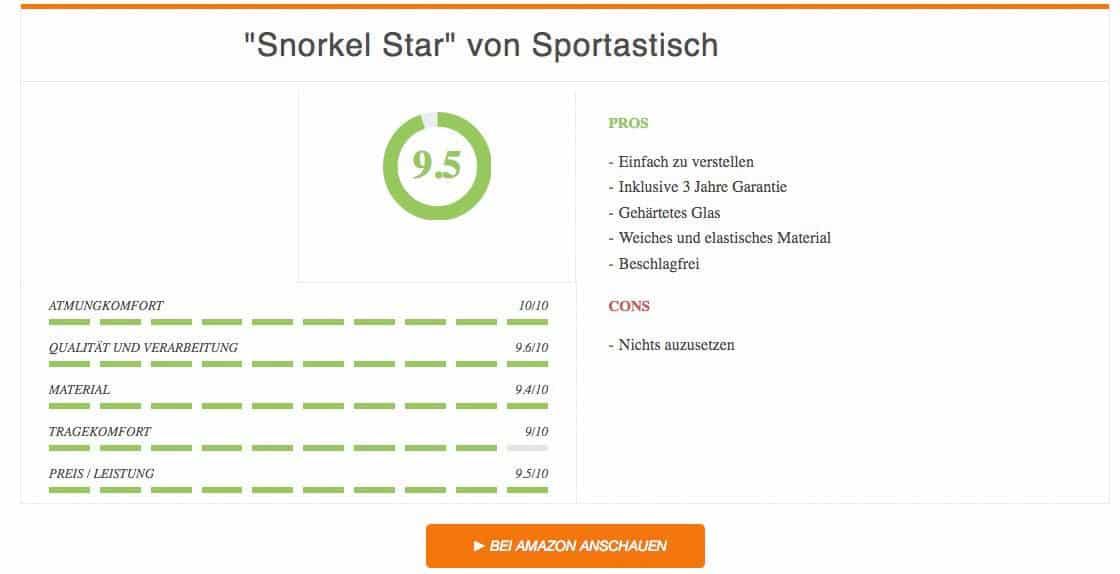 Ergebnis Snorkel Star von Sportastisch Schnorchelset Test