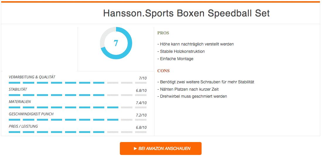 Hansson Sports Speedball Set Ergebnis