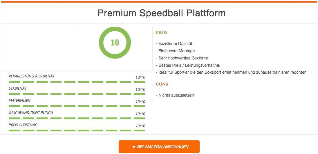 Premium Speedball Plattform Set Ergebnis