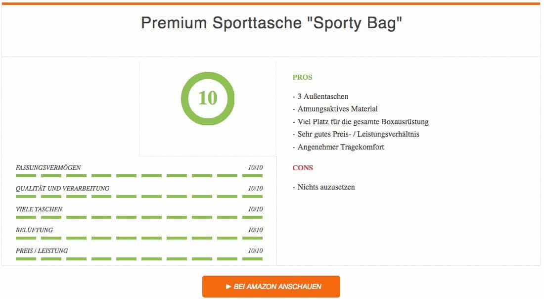 Premium Sporttasche Sporty Bag von Sportastisch Auswertung