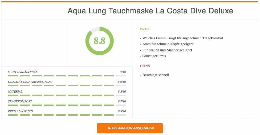 Ergebnis zur Aqua Lung Tauchmaske La Costa Dive Deluxe