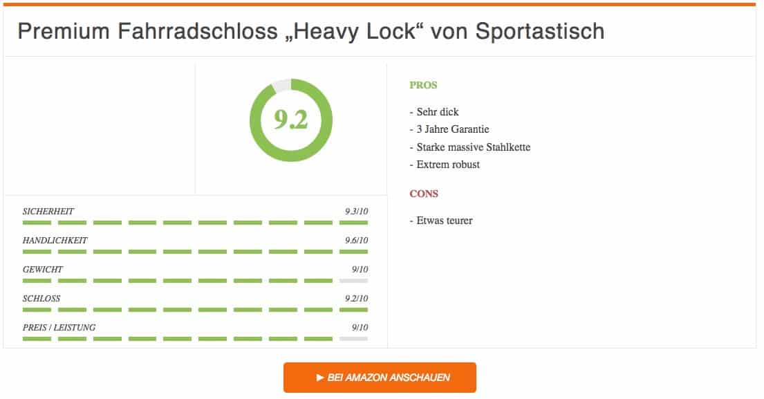Fahrradschloss Test Premium Fahrradschloss Heavy Lock von Sportastisch