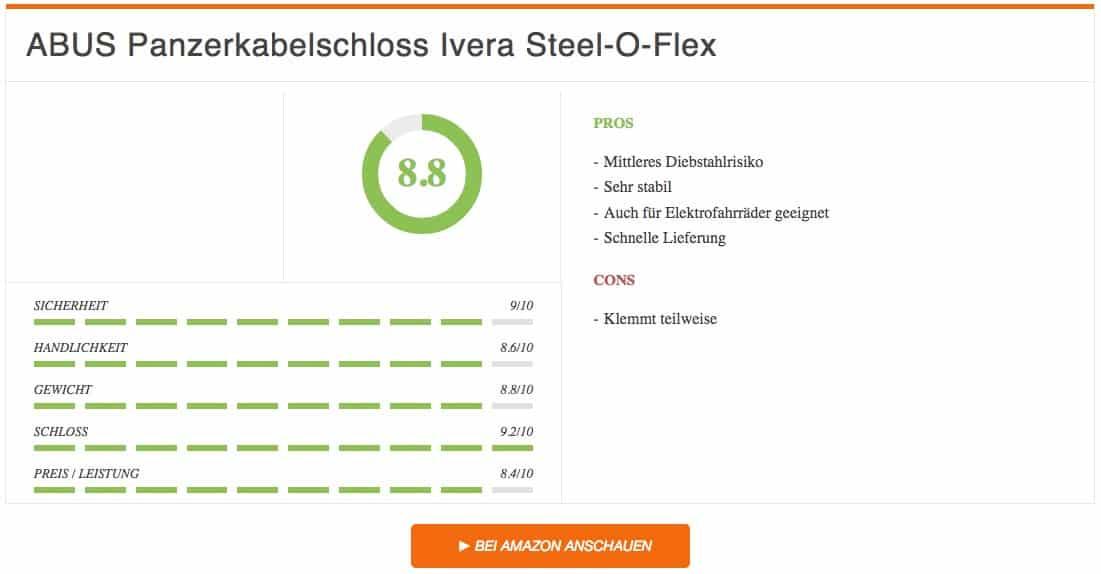 Fahrradschloss Test ABUS Panzerkabelschloss Ivera Steel-O-Flex