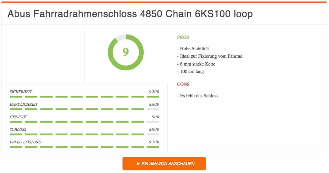 Fahrradschloss Test Abus Fahrradrahmenschloss 4850 Chain 6KS100 loop