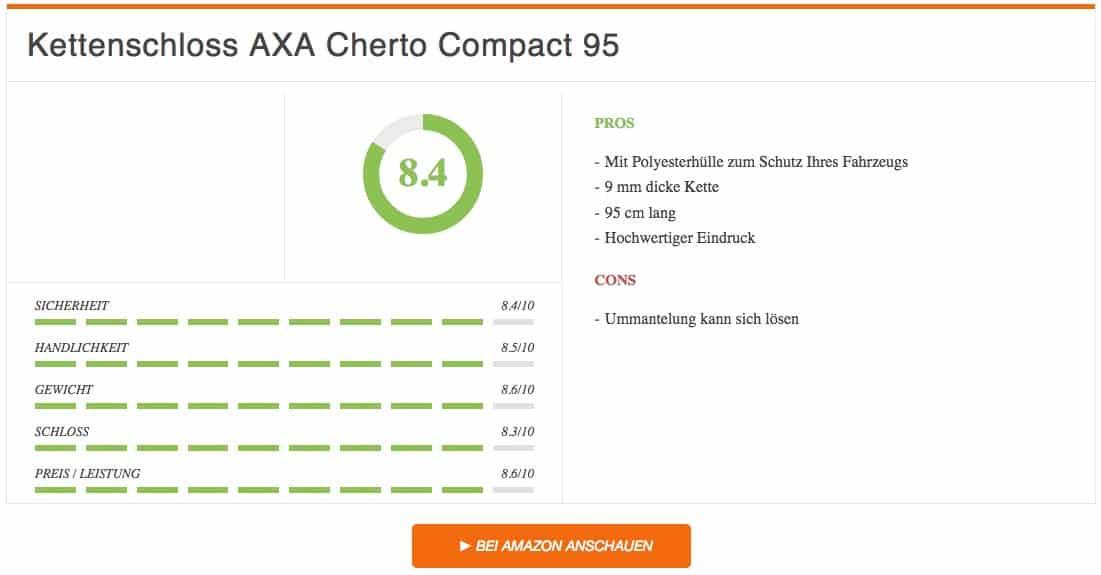 Fahrradschloss Test Kettenschloss AXA Cherto Compact 95